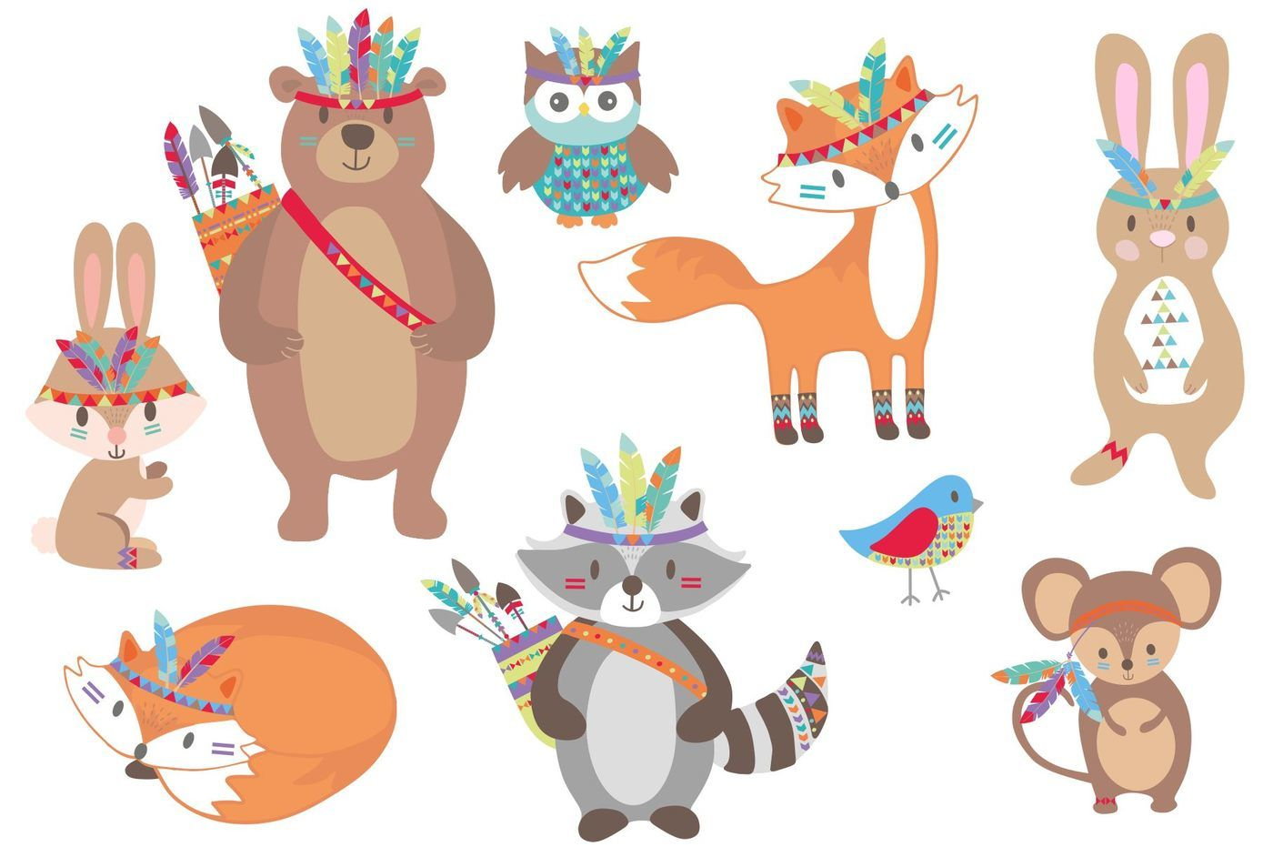 Tribal animals by paperhutdesigns. Woodland clipart single animal