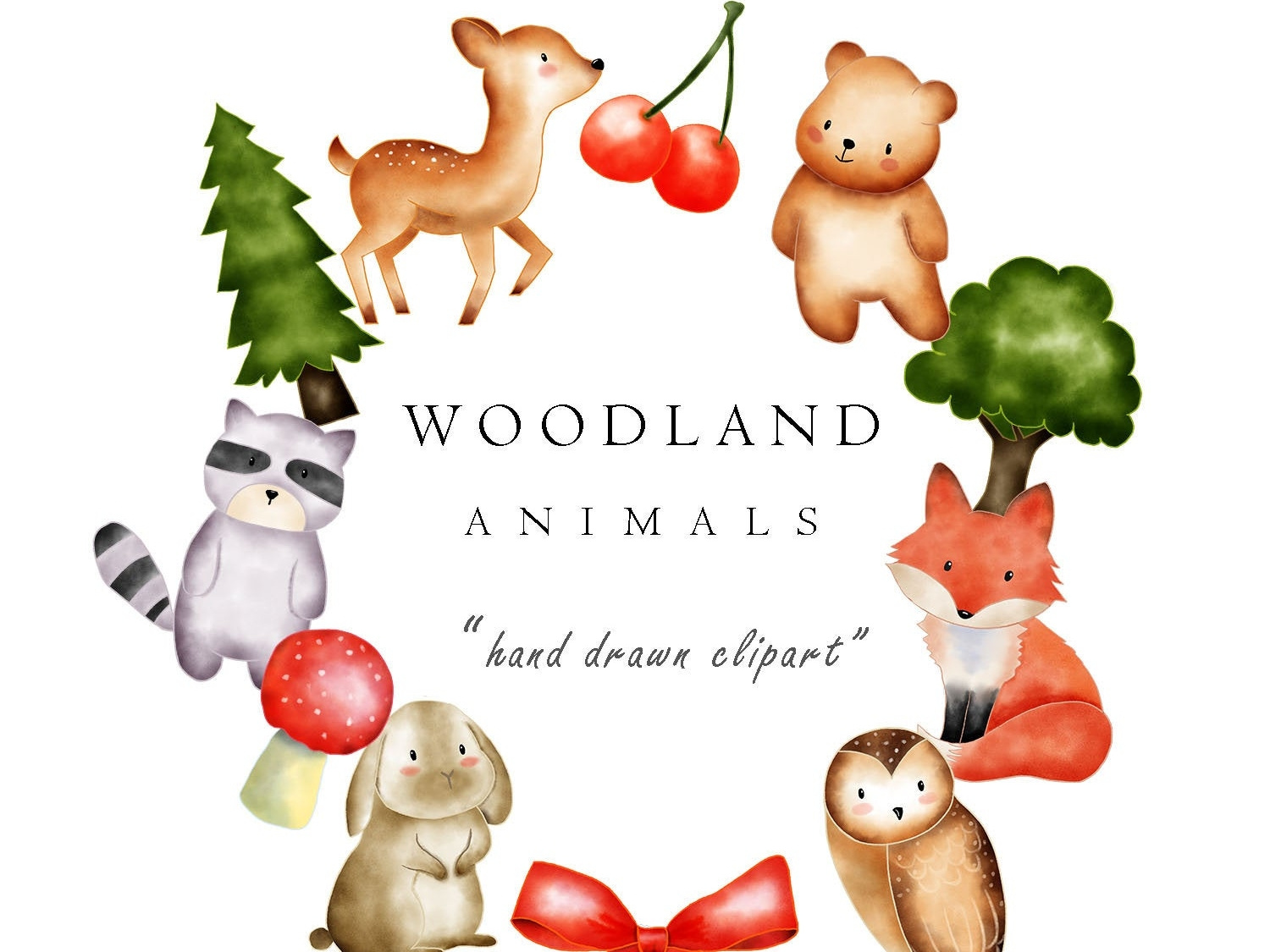 Watercolor animal clip art. Woodland clipart standing