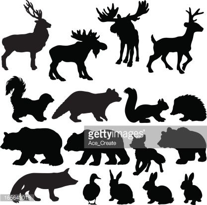 Pin on animal silhouettes. Woodland clipart stencil