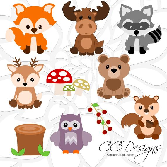 Animal set cute baby. Woodland clipart svg