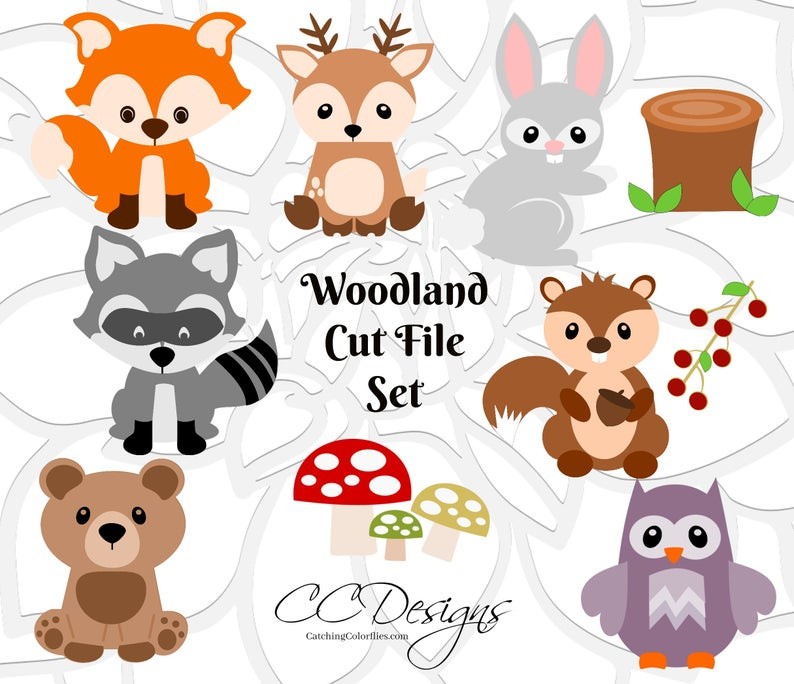 Woodland clipart svg. Animals cut files nursery