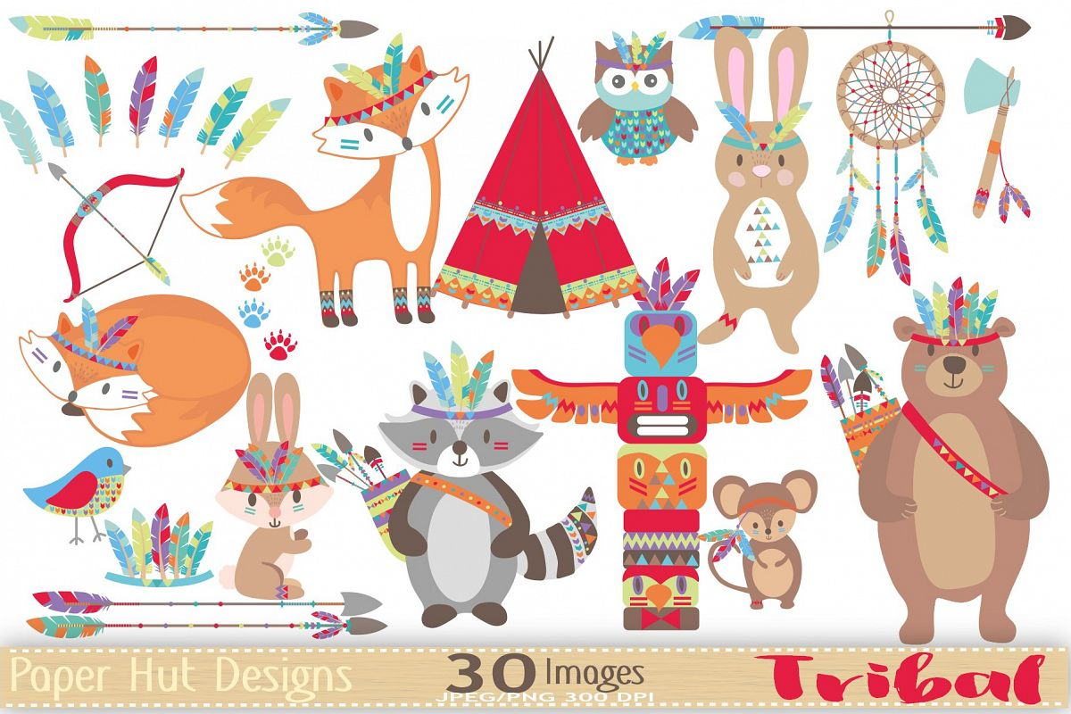 Woodland clipart tribal. Animals