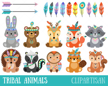 Animal clip art forest. Woodland clipart tribal