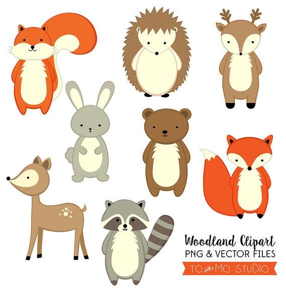 Animals clip art vectors. Woodland clipart vector