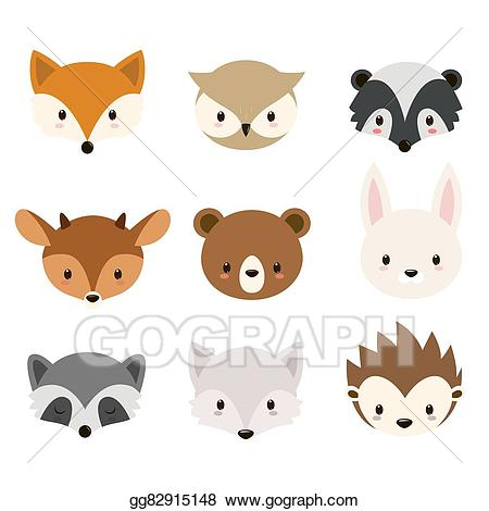 Woodland clipart vector. Stock cute animals collection