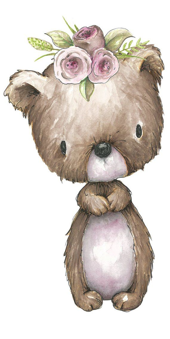 Woodland clipart vintage. Bear combo pack watercolor