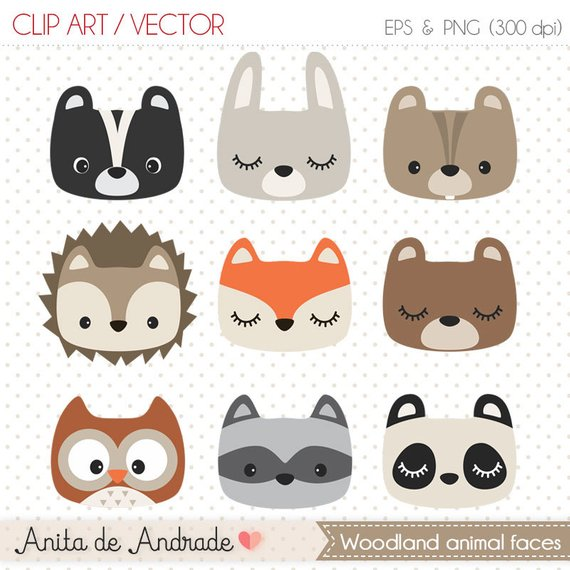 Woodland clipart vintage.  off animal faces