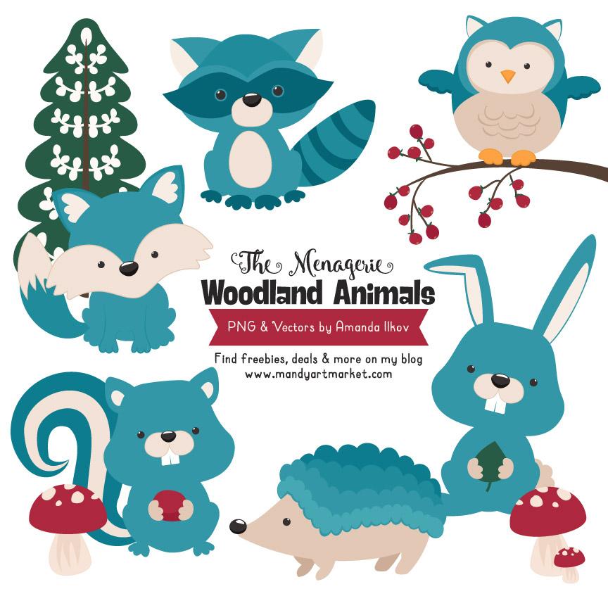 Woodland clipart vintage. Blue animals