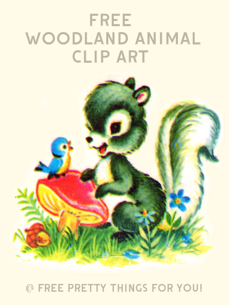 Images free animal clip. Woodland clipart vintage