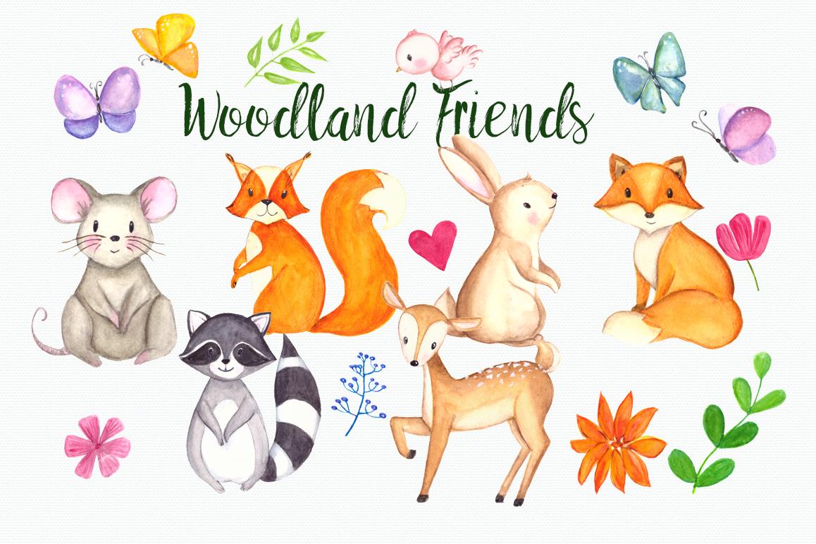 Friends clip art set. Woodland clipart watercolor