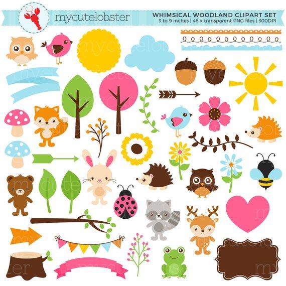 Set digital elements fox. Woodland clipart whimsical woodland