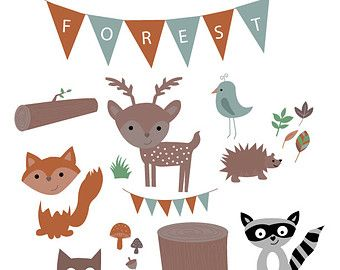 Forest animals clip art. Woodland clipart whimsical woodland