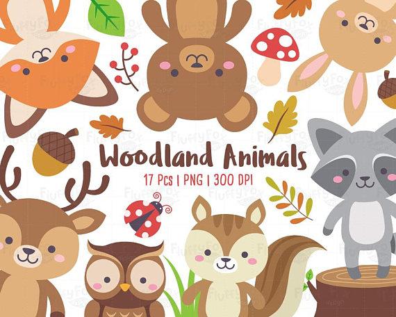 Woodland clipart wild animal. Animals forest clip art