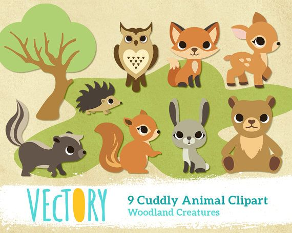 Cute forest creature clip. Woodland clipart wild animal