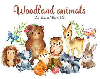 Woodland clipart wildlife british. Watercolor etsy