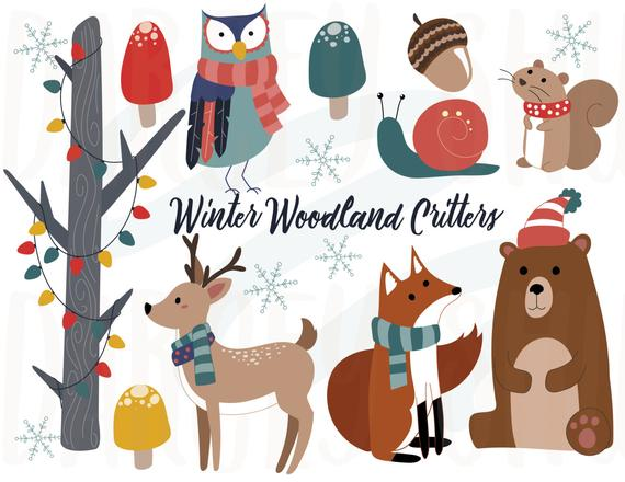 Critters animals christmas . Woodland clipart winter