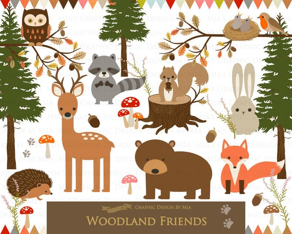 Woodland clipart woodland friend. Friends animals forest digital