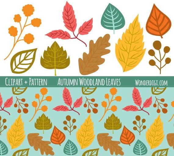 Fall clip art set. Woodland clipart woodland leaves
