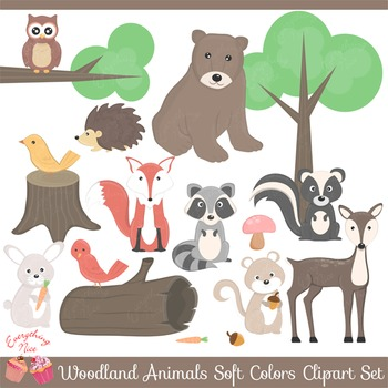 Wood land animals soft. Woodland clipart woods animal