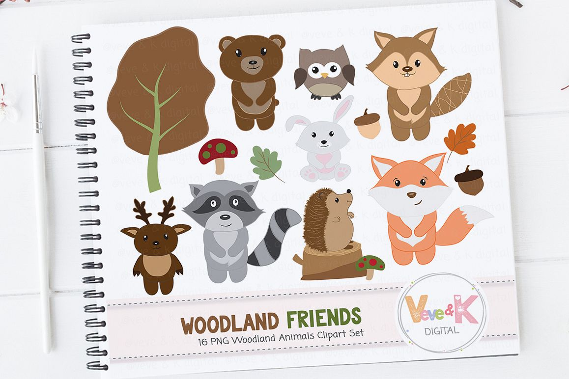 Woodland clipart woods animal. Animals set creature forest