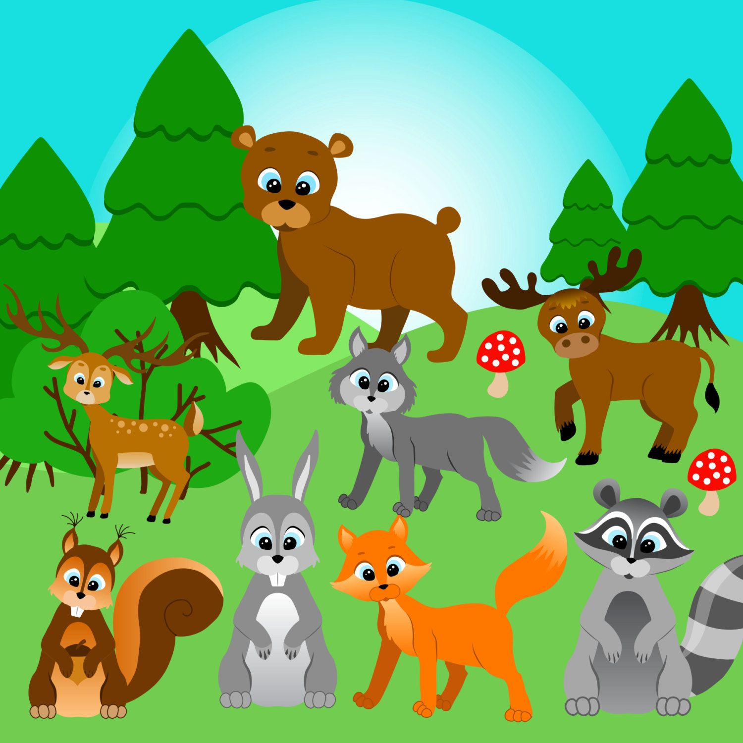 Forest animals clip art. Woodland clipart woods animal