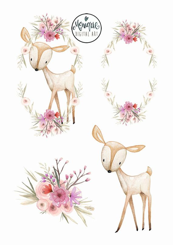 Deer crown watercolor . Woodland clipart wreath