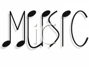 Words clipart band. Music notes making the