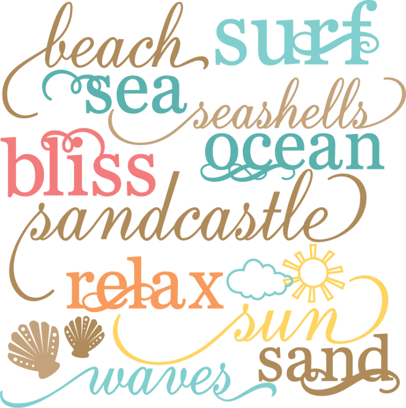 Words clipart beach. All about the everything