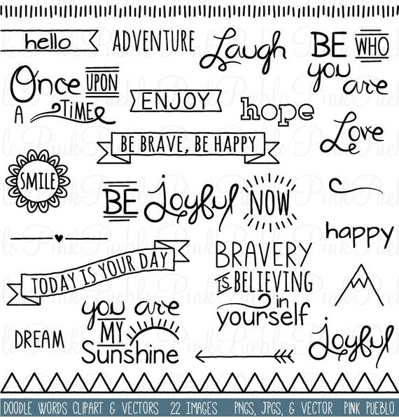 Words clipart clip art. Doodle typography word subway