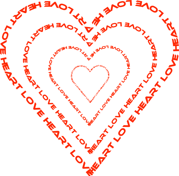A heart done by. Words clipart design