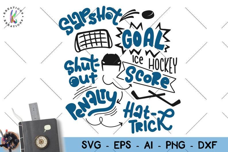 Ice svg sayings slapshot. Words clipart hockey