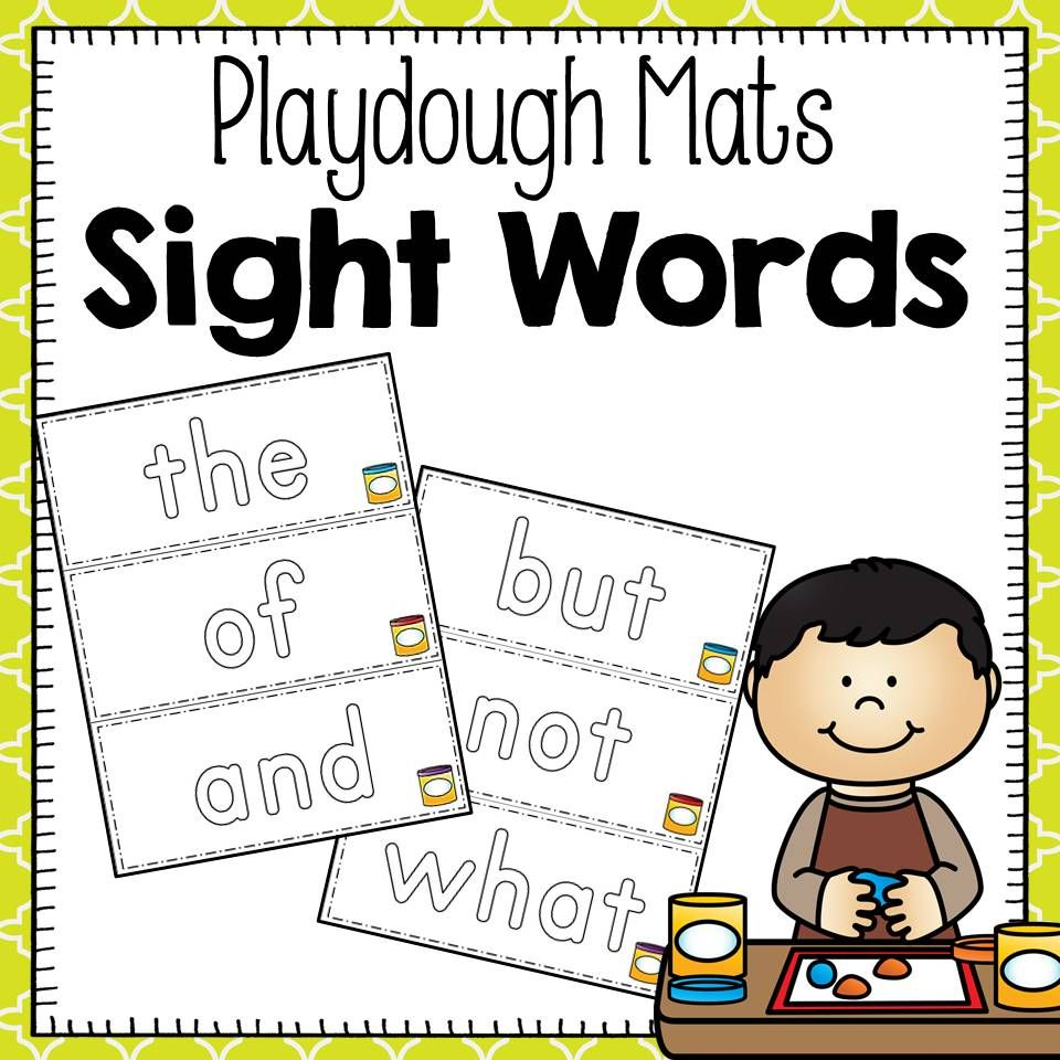 Words clipart mat. Sight word playdough mats