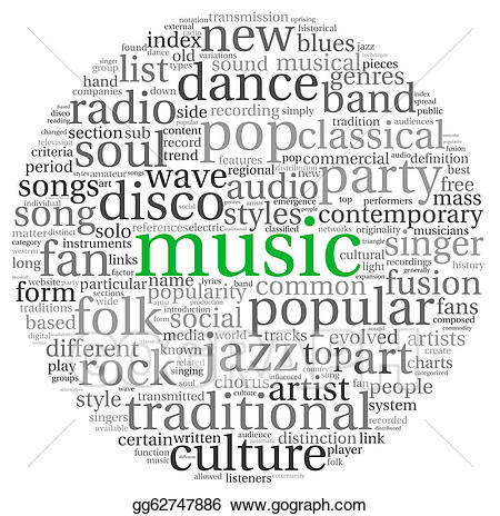 Concept stock illustration gg. Words clipart music