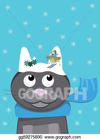 Vector art cat with. Words clipart snow