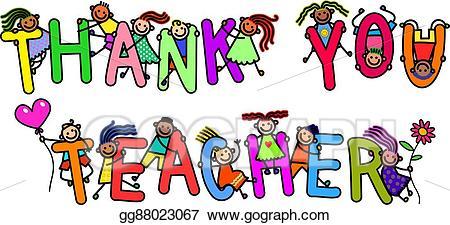 Words clipart teacher. Drawing thank you kids