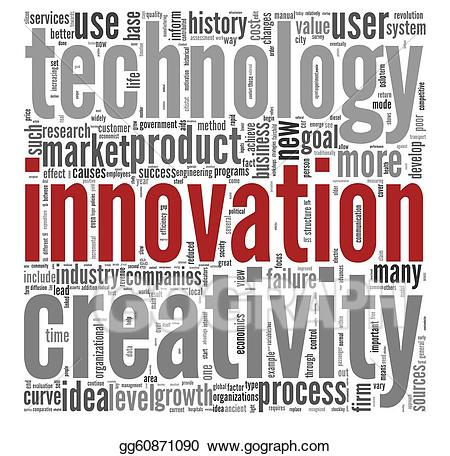 Words clipart technology. Innovation concept in tag