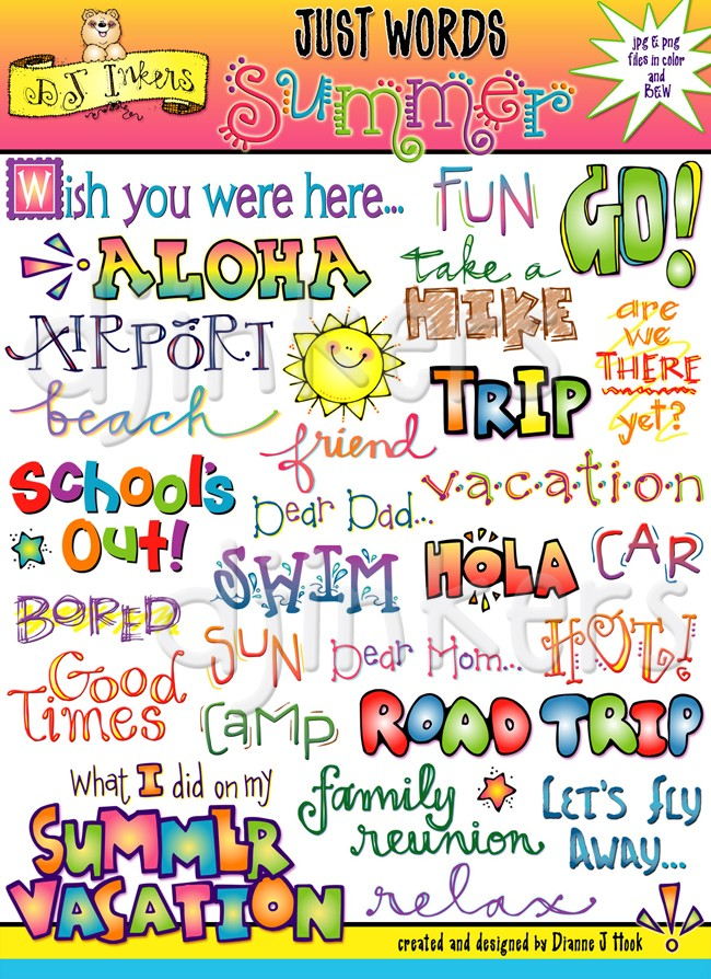 Summer clip art sayings. Words clipart vacation