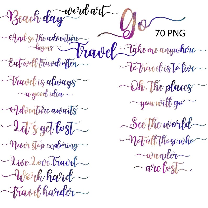 Words clipart vacation. Travel word art summer