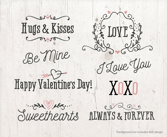 valentine love word. Words clipart valentines