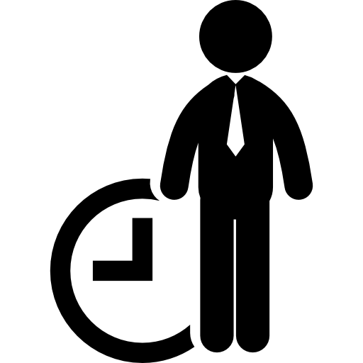 Business man with clock. Work icon png