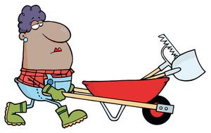 Wheelbarrow cartoon image clip. Working clipart