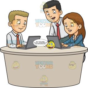 Three work colleagues typing. Working clipart colleague