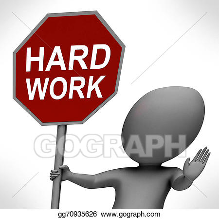 Stock illustration hard red. Working clipart difficult work