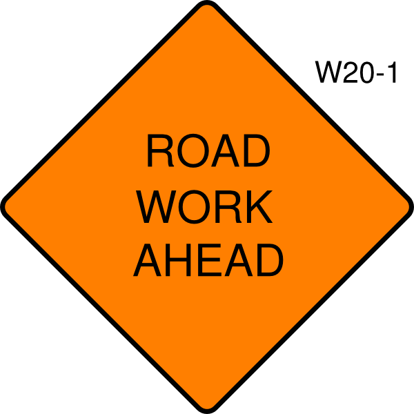Working clipart road work. Ahead sign clip art