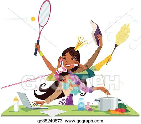Working clipart simultaneously. Vector stock busy black