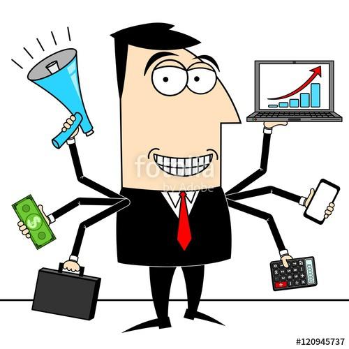 Multitasking businessman stock photo. Working clipart simultaneously