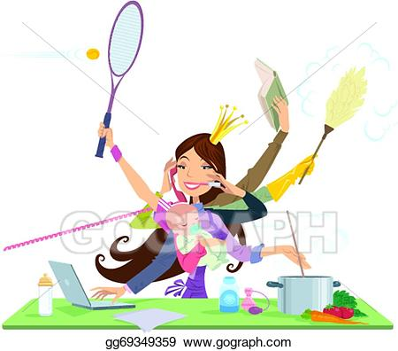 Eps vector busy woman. Working clipart simultaneously