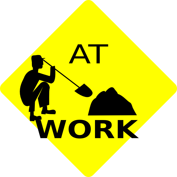 Men at black yellow. Working clipart work zone