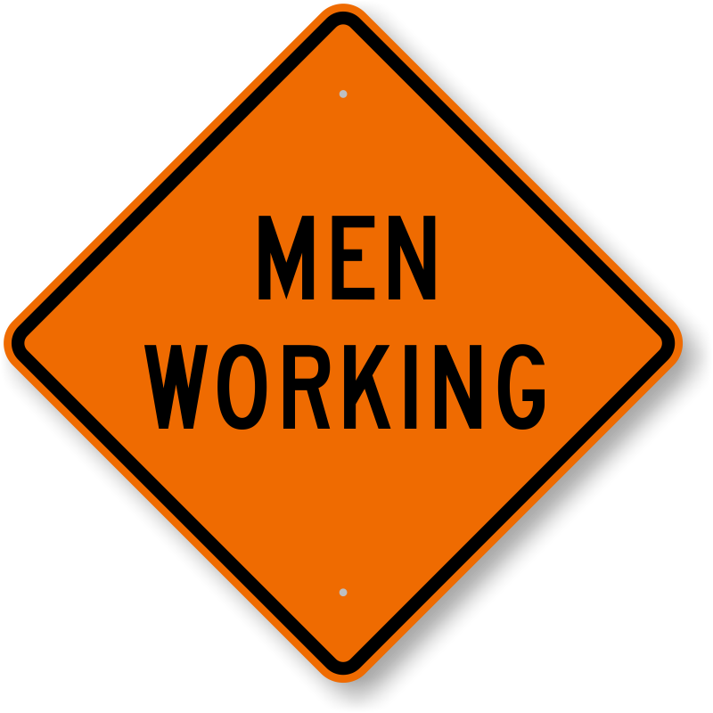 Working clipart work zone. Men at signs zoom