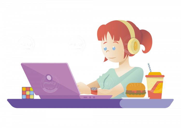 Working clipart working lady. A freelance girl on